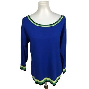 Cable & Gauge Cobalt Blue Pullover Sweater Striped